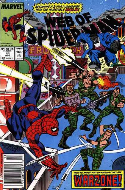 Web of Spider-Man 44 - Army - Guns - Sword - Jump - Camoflauge