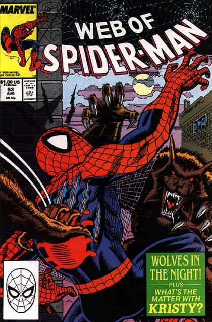 Web of Spider-Man 53 - Marvel Comics - Spider Man - Wolves In The Night - Kristy - Red And Blue