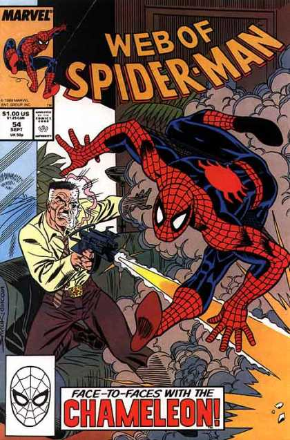 Web of Spider-Man 54 - Black Costume - Marvel Comics - Face To Face With The Chameleon - Flash Gun - Gum Shoes