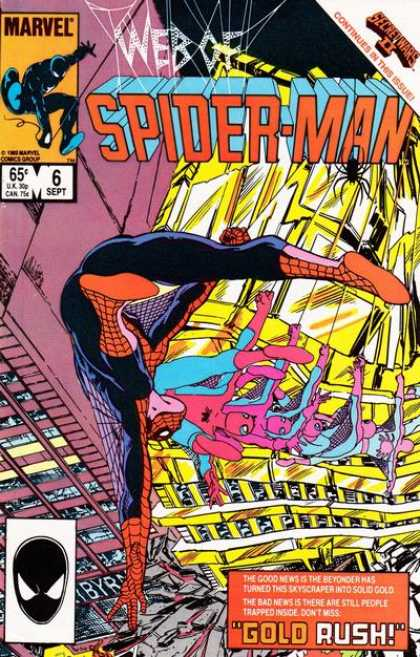 Web of Spider-Man 6 - Marvel - Gold - Rush - Secret Wars Ii - Buildings - John Byrne
