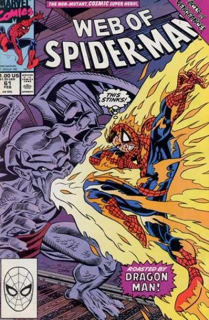 Web of Spider-Man 61 - Dragon Man - This Stinks - Flames - Burning Costume - Burning Face