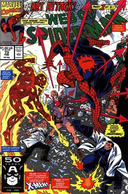 Web of Spider-Man 73 - Tingly Senses - Burnt Spider - Singed Web - Everyone Hates Spiders - Arrowed Spider