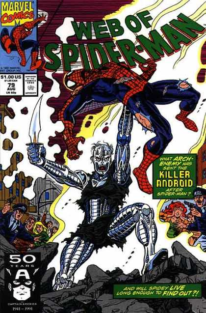 Web of Spider-Man 79 - Marvel - Knife - Blade - August - Killer Android