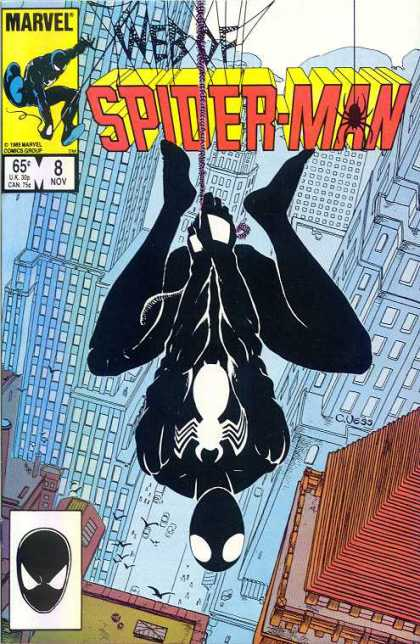 Web of Spider-Man 8 - Web - Black Suit - Hanging - City - Buildings - Charles Vess