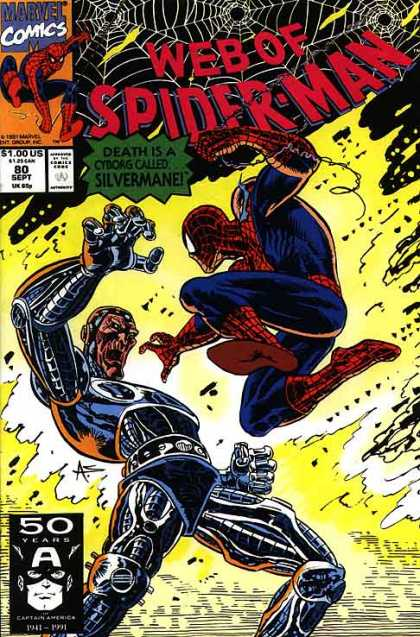 Web of Spider-Man 80 - Marvel Comics - Web - Superhero - Robot - Captain America