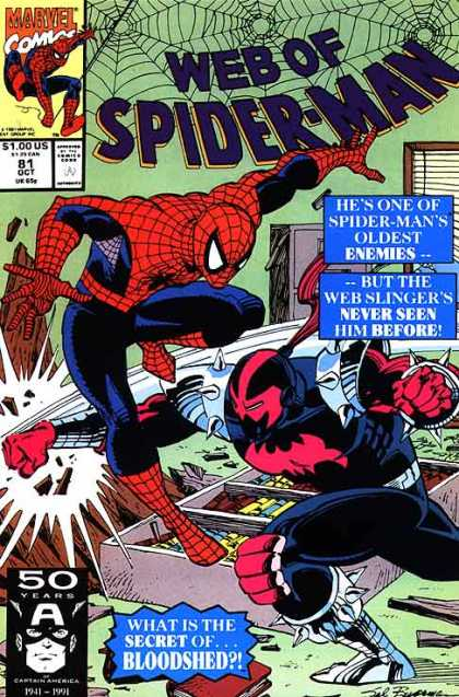 Web of Spider-Man 81 - Enemies - Webslinger - Secret - Bloodshed - Fighting - Sal Buscema