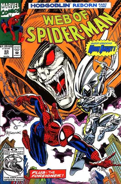 Web of Spider-Man 93 - Hobgoblin - Reborn - Marvel - Moon Knight - Guest Starring