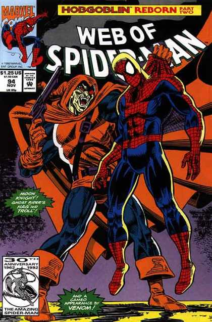 Web of Spider-Man 94 - Hobgoblin - Powerless - Unconscious - Helpless - Gun