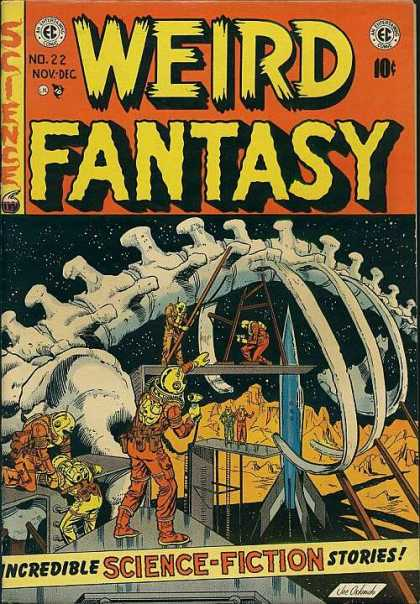 Weird Fantasy 22 - Skeleton - Science - Incredible Science-fiction Stories - Rocket - Space Suits