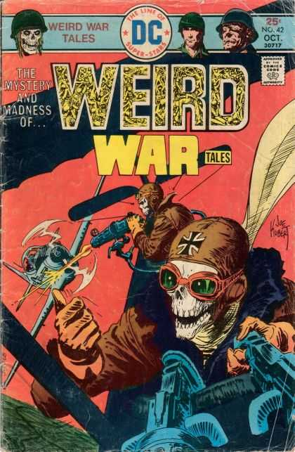 Weird War Tales 42 - Airplane - Pilot - Dogfight - Joe Kubert - Machine Gun