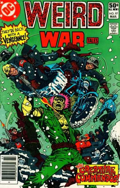 Weird War Tales 97 - Back With A Vengeance - Creature Commandos - No97 March - Motorcycle - Nazi - Ross Andru