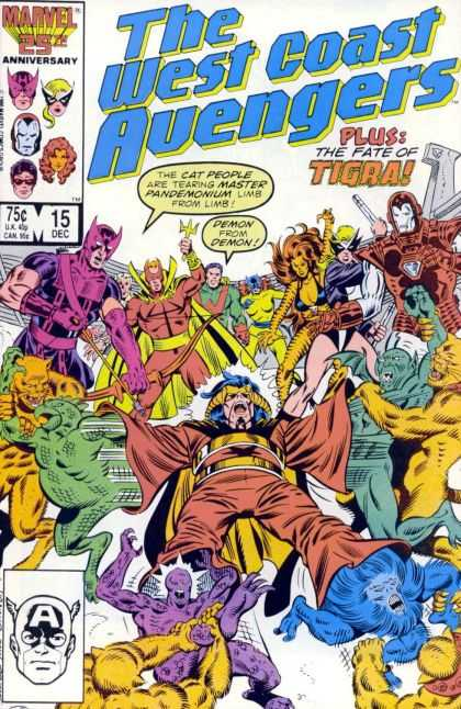 West Coast Avengers 15 - Not The Real Avengers - Tigra - Master Pandemonium - 25th Anniversary - Demons - Joe Sinnott