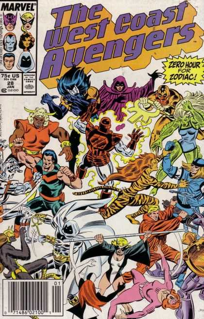 West Coast Avengers 28 - Zero Hour For Zodiac - Battle - Rays - Fight - Anger