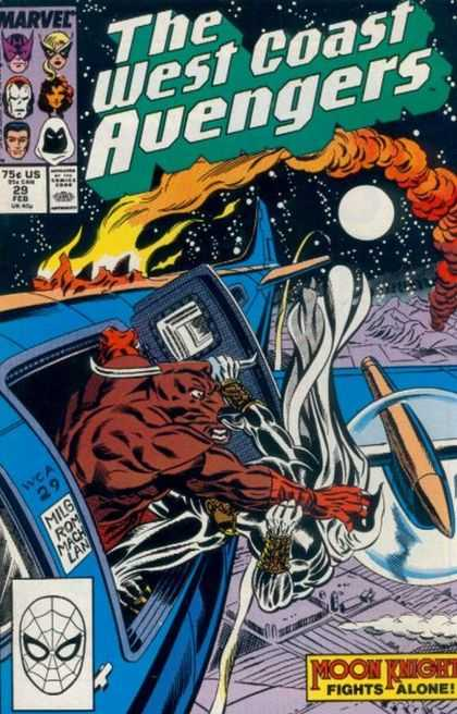 West Coast Avengers 29 - Marvel - Bull - Moon Knight Fights Alone - Plane - Moon