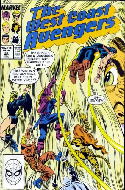West Coast Avengers 32 - Spidey Head - Climbing Avengers - Giant Hair - Giant Eye - Giant Nose