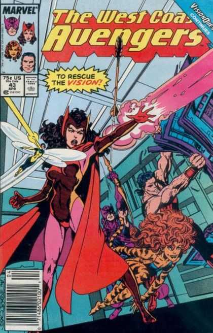 West Coast Avengers 43 - To Rescue The Vision - Tiny Dragonfly Like Hero - Tiger Striped Woman - Tearing Apart Object - Red Cape - John Byrne
