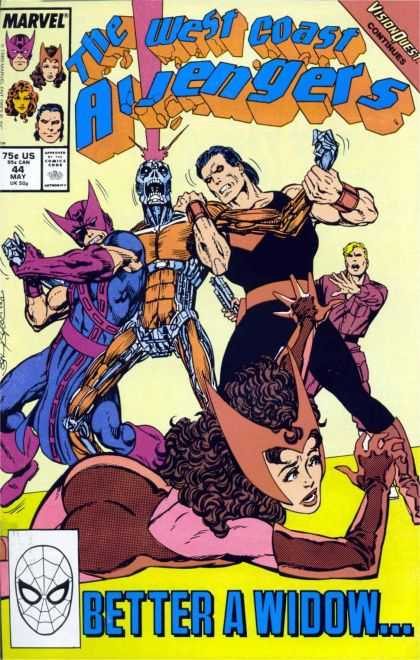 West Coast Avengers 44 - Better A Widow - Vision Quest - Spider Man - Marvel - Robot - John Byrne
