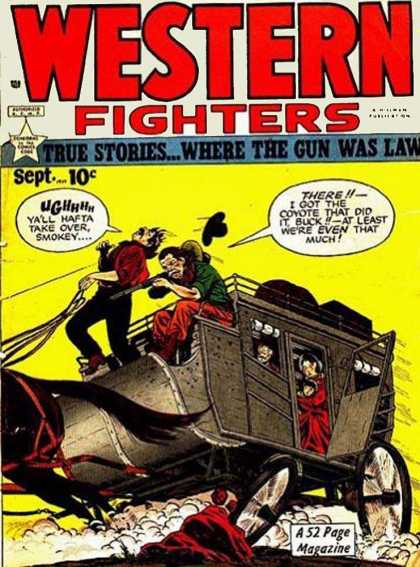 Western Fighters 10 - 52 Page Mgazine - Where The Gun Was Law - Wagon - Horse - Cowboy Hat
