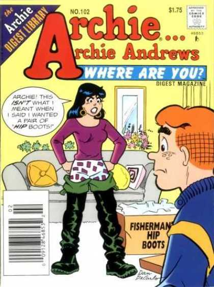 Where Are You 102 - Fishermans Hip Boots - Archie - Digest Magazine - Throw Pillows - Couch
