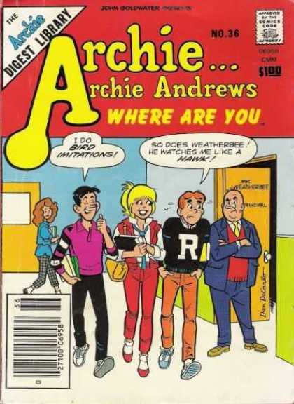 Where Are You 36 - Archie Andrews - Digest Library - Principle - Betty - Checkered Pants