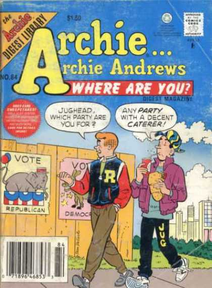 Where Are You 84 - Archie - Digest Library - Vote - Republican - And Party With Decent Caterer