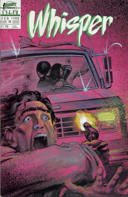 Whisper 11 - Person In Black Ninja Clothes - Truck With Bullet Holes In The Windshield - Man With Gun Running From Truck - Car Chase - Purple Background - Norm Breyfogle