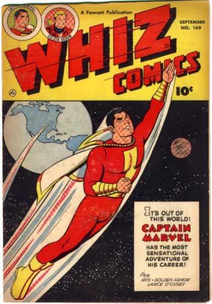 Whiz Comics 149 - Captain Marvel - Earth - Space - Fliing Man - Number 149