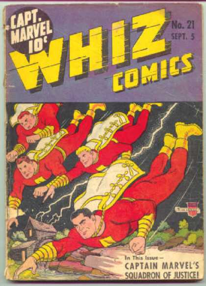 Whiz Comics 21 - Captain Marvels Squadron Of Justice - House - Lightning - Yellow Boots - Water - Clarence Beck