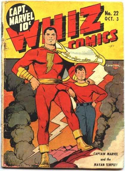 Whiz Comics 22 - Captain Marvel - Child - No 22 - Lightning - Storm Clouds - Clarence Beck