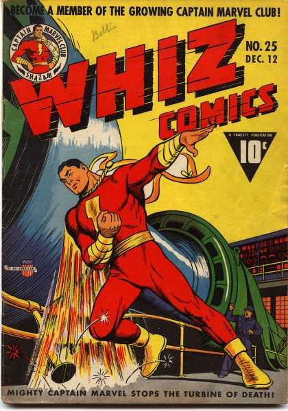 Whiz Comics 25 - Hero - Red - Gold - Retro - 25 - Clarence Beck
