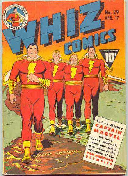 Whiz Comics 29 - Captain Marvel - Bolts - Group - Red Outfits - Heroes - Clarence Beck