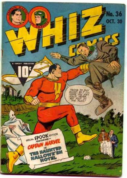 Whiz Comics 36 - Captain Marvel - Coed Superhero - Punch - Ghost - Haunting - Clarence Beck