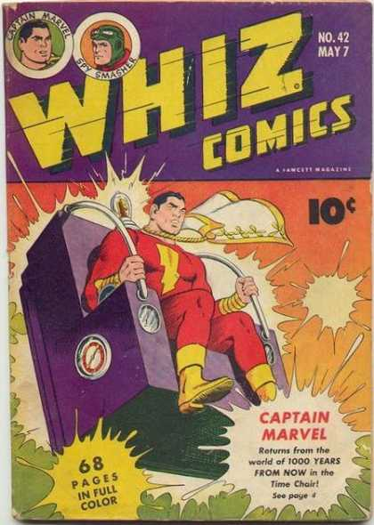 Whiz Comics 42 - Spy Smasher - Time Chair - Captain Marvel - Time Travel - Action Comic - Clarence Beck