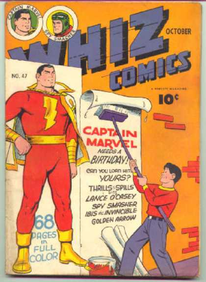 Whiz Comics 47 - Captain Marvel - Posters - Wall - Bucket - Broom - Clarence Beck