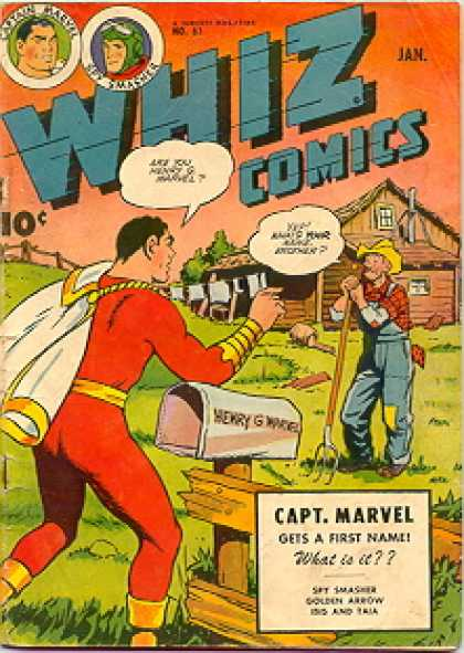 Whiz Comics 61 - Capt Marvel - Gets A First Name - Superman - House - Saying Something