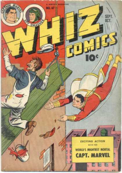 Whiz Comics 67 - Captain Marvel - Spy Smasher - Painter - Worlds Mightiest Mortal - Tall Buildings