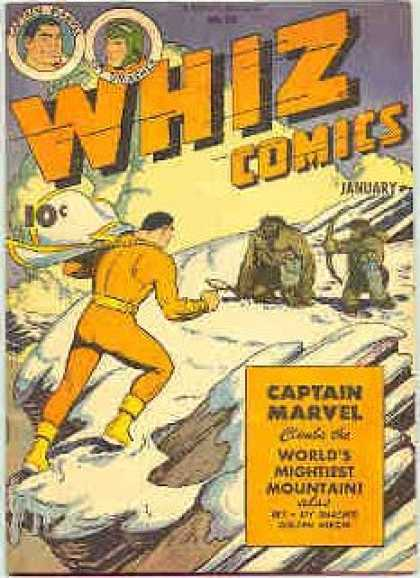 Whiz Comics 70 - Captain Marvel - Worlds Mightiest Mountain - Cave Man - Snowy Mountian - Yellow Jump Suit