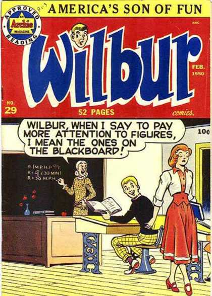 Wilbur 29 - An Archie Magazine - Americas Son Of Fun - Petty Coat - Dress - School Desk
