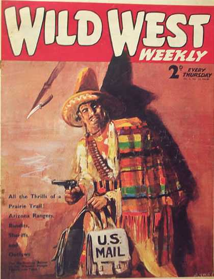 Wild West Weekly 13 - Gun - Weapon - Mexican Poncho - Knife - Us Mail