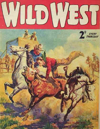 Wild West Weekly 27 - Horses - Cowboys - Cattle - Horns - Steers
