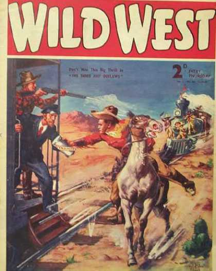 Wild West Weekly 32 - Train - Gun - Horse - Cowboy - Conductor