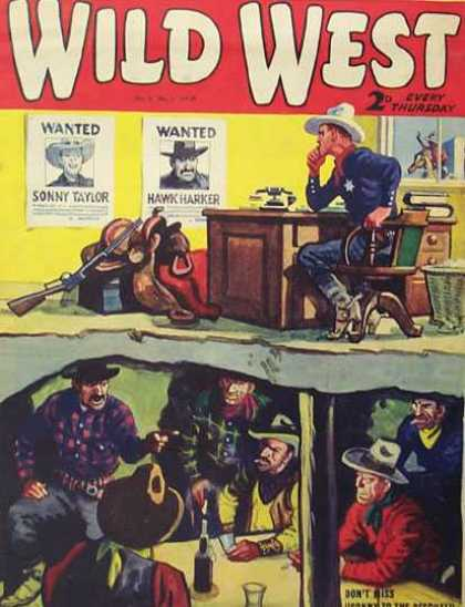Wild West Weekly 44 - Wanted Posters - Hawk Harker - Sonny Taylor - Saddle - Sheriff