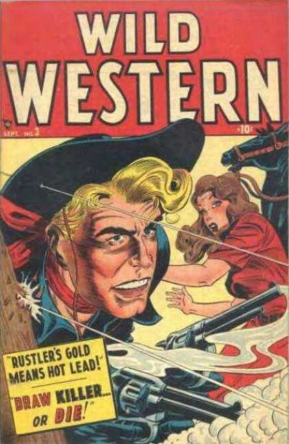 Wild Western 3 - Gun Fire - Black Horse - Woman On Ground - Black Cowboy Hat - Pistols