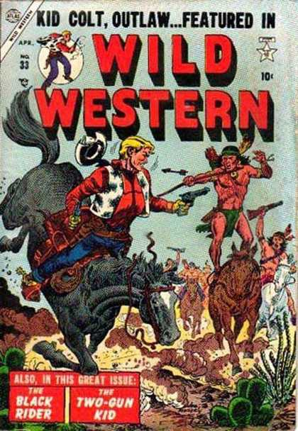 Wild Western 33 - Kid Colt Oulaw - Apr No 33 - The Black Rider - Two-gun Kid - Native Americans