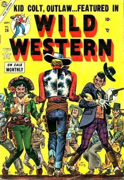 Wild Western 36 - Kid Colt Outlaw - Wild Western - On Sale Monthly - 10 Cent Comic - Blazing Six Guns