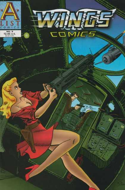 Wings Comics 3 - A List Comics - Red Dress - Machine Gun - Fighter Plane - Gun Holster