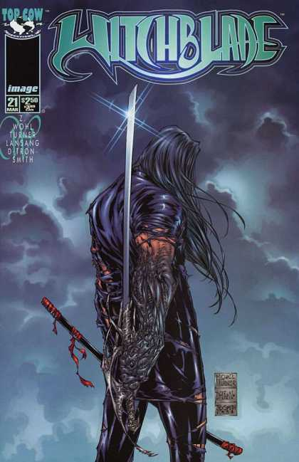 Witchblade 21 - Black Hair - Sword - Leather - Blade - Clouds - Michael Turner
