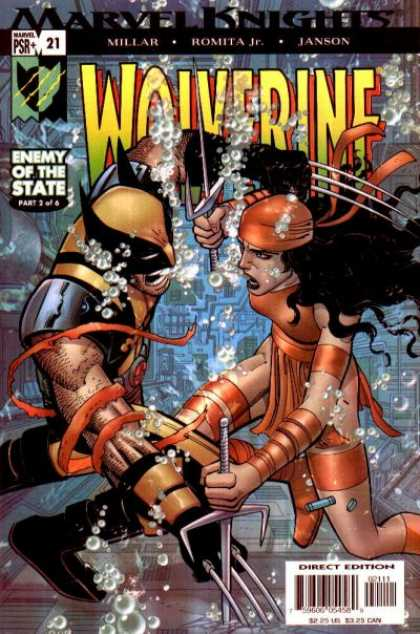 Wolverine (2003) 21 - Enemy Of The State - Underwater - Tridents - Fight - Red - John Romita
