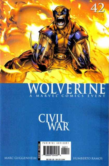 Wolverine (2003) 42 - Flame - Claws - A Marvel Comics Event - Civil War - Costume - Humberto Ramos