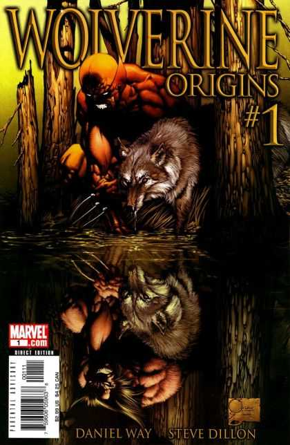 Wolverine Origins 1 - Wolf - Water - Tree - Reflection